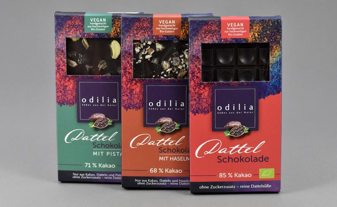 Odilia Schokoladen Verpackungsdesign